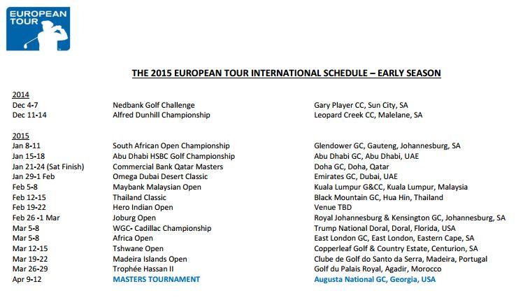 European Tour, alkukausi 2015